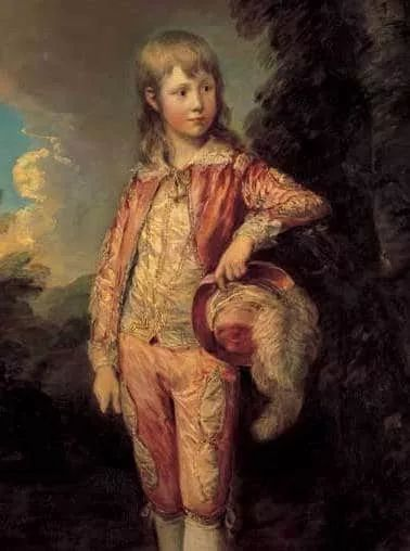 19世纪穿着粉色服装的男孩
