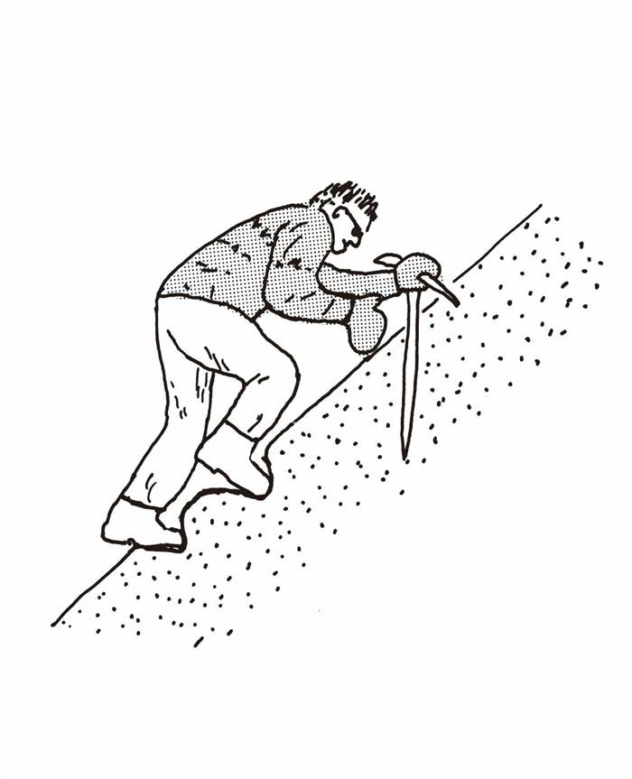 使用冰斧直线上山