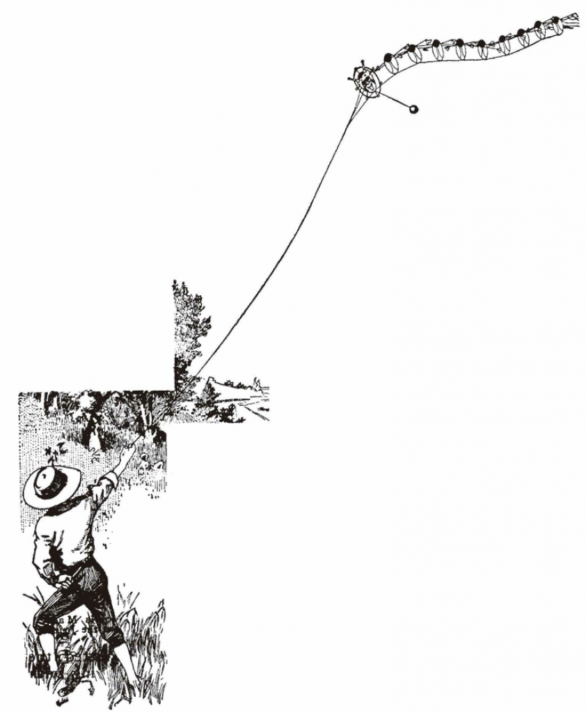 总的看来,龙形风筝好像飘在天上的巨大毛毛虫