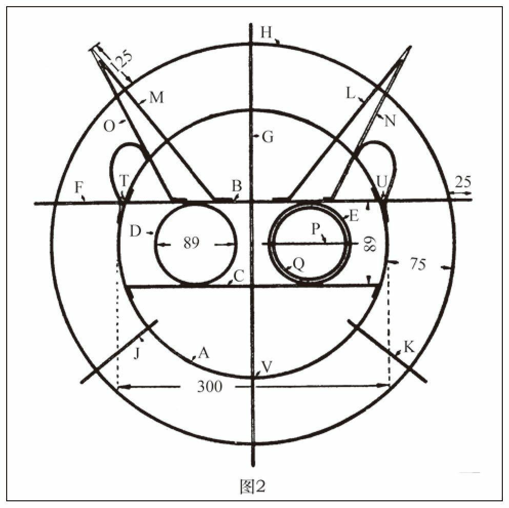 头部框架完全用竹条制成,接头绑在一起。(单位:毫米)