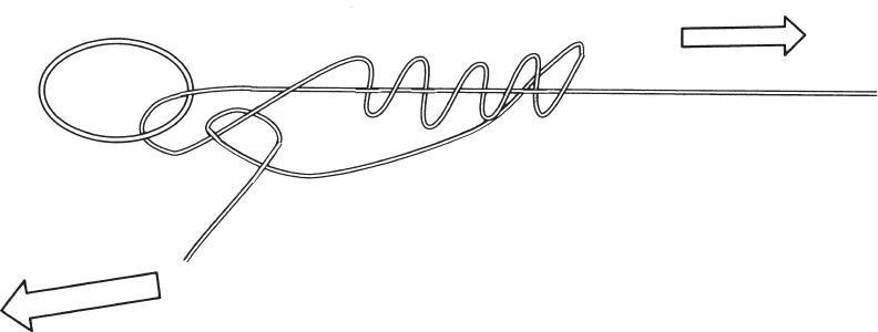 改进的扭抱结是将一个圆环连接到直径不同的绳索上。