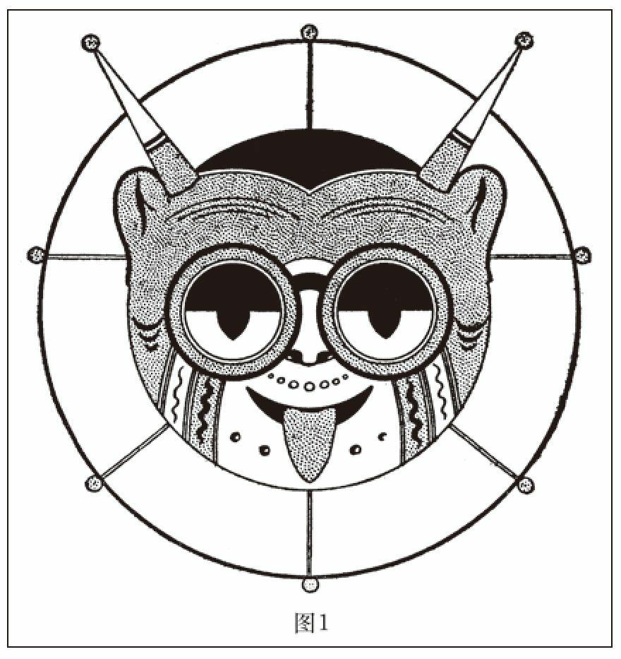 有角、耳朵和转动眼睛的风筝头非常丑恶可怕