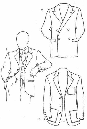1.具有单排两粒纽扣上衣和5粒纽扣背心的套装的上半部  2.双排2+2纽扣,带盖衣兜的布莱泽上衣  3.单排3粒纽扣,帖兜运动型上衣