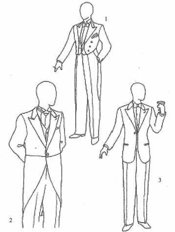 1.燕尾服  2.晨礼服  3.具有标枪头形翻领的单排扣晚礼服