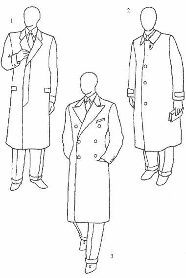 1.前塔门有扣盖的单排扣切斯特菲尔德大衣  2.罗登大衣  3.双排扣切斯特菲尔德大衣